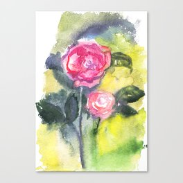 Two Watercolour Roses Canvas Print