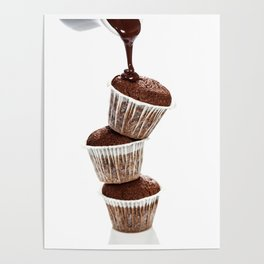 muffins with chocolate sauce over white Poster