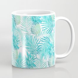 Turquoise Palm Leaves and Pineapples on Pink Coffee Mug