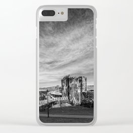Caerphilly Castle Panorama Monochrome Clear iPhone Case