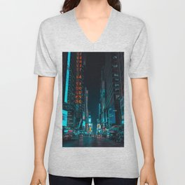 New York Bright Lights Unisex V-Neck