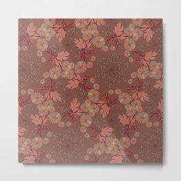 Dandelion Geometric in brown and blue Metal Print