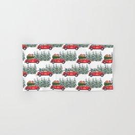 Corgis in car in winter forest Hand & Bath Towel