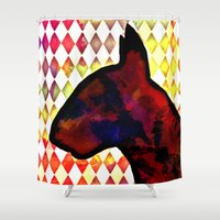 bull terrier Shower Curtains featuring Bull Terrier Jester by Erin Conover