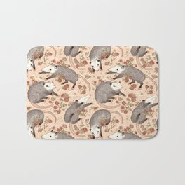 Opossum and Roses Bath Mat