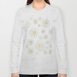 white daisy pattern watercolor Long Sleeve T-shirt