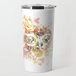 Watercolor Owl with Crown Floral Animal Travel Mug
