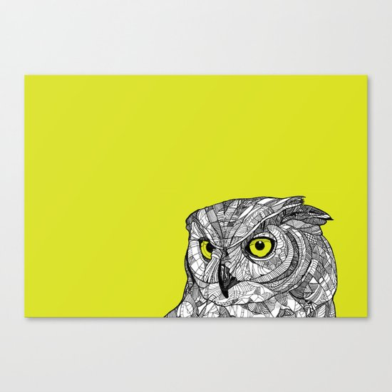 Green Eyed Owl Canvas Print