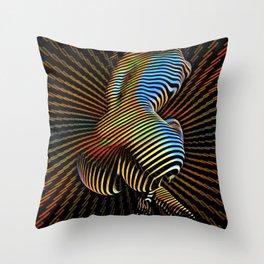 0727s-MM Sensual Abstract Figure Zebra Striped Op Art Nude Woman Back Butt Powerful Artwork Throw Pillow