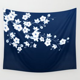 Navy Blue White Cherry Blossoms Wall Tapestry