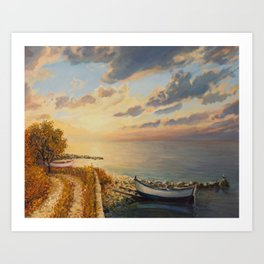 Romantic Sunrise by the Sea Art Print