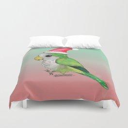 Green Christmas parrot Duvet Cover