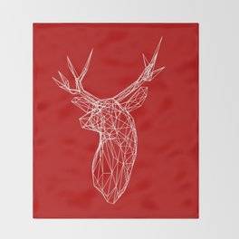 3D Stag Trophey Head Wire Frame Throw Blanket
