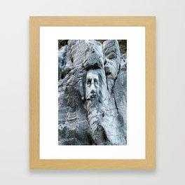 KING ARTHUR CARVING ON ROCK ENGLAND Framed Art Print