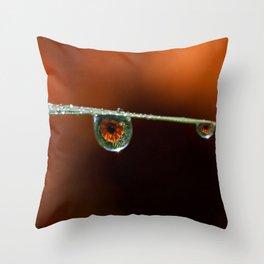 Marigolds in the rain Throw Pillow