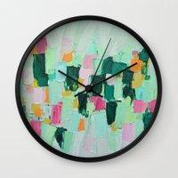jenna kutcher Wall Clocks featuring Arietta by Ann Marie Coolick