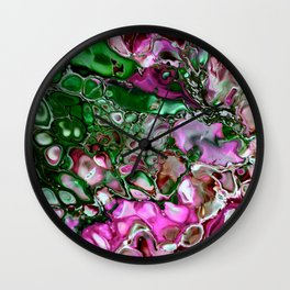 Colorful Digital Enhanced Fluid Painting - Pink and Green Wall Clock