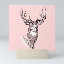 Winter Deer Head Mini Art Print