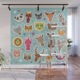 funny animals muzzle. Teal background with stars, Polka dot. Vector illustration Wall Mural