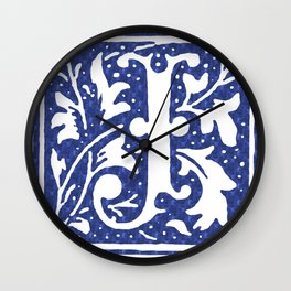 FLORAL LETTER TYPE - LETTER J Wall Clock