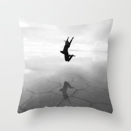 Abstract Beach | Jump for Joy Dramatic Black and White Happy Sunset Gray Bright Mood Throw Pillow