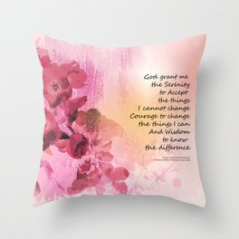 Serenity Prayer Quince Fence 3 Pink Throw Pillow