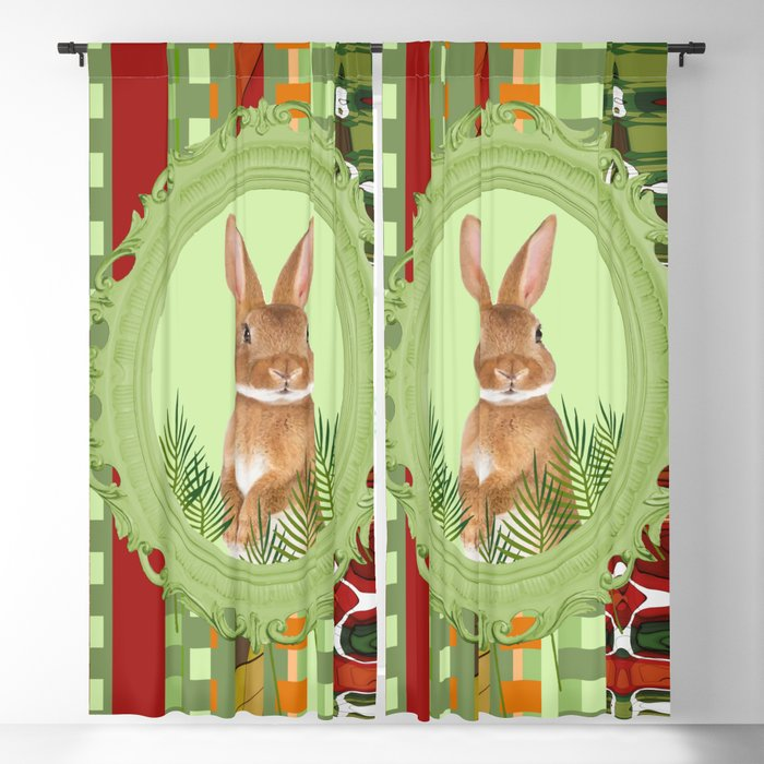 Bunny in green frame with geometric background stripes Blackout Curtain