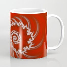 Red and White Striped Swirl - Fractal Art Coffee Mug