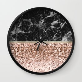 Warm chromatic - rose gold and black marble Wall Clock