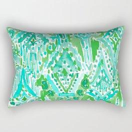 DROPS OF WONDER Green Ikat Tribal Rectangular Pillow