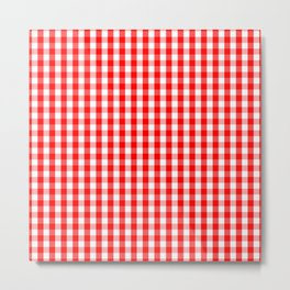 Large Australian Flag Red and White Gingham Check Metal Print