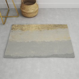 Geometrical ombre glacier gray gold watercolor Rug