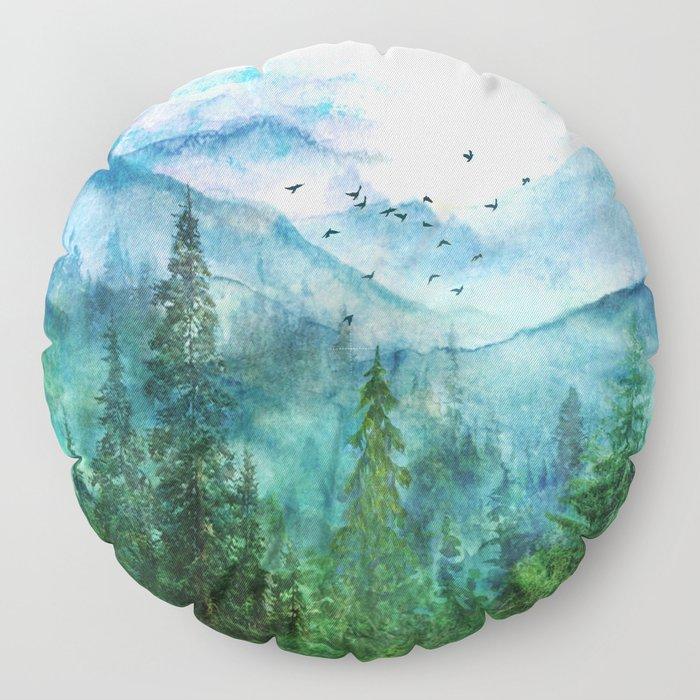 Spring Mountainscape Floor Pillow