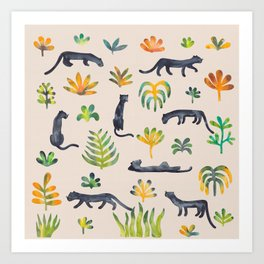 Panthers in the jungle Art Print