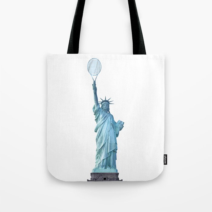 Statue of Liberty with Tennis Racquet Tote Bag
