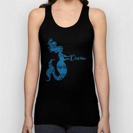 Save the Ocean Mermaid - Word Cloud Blue Unisex Tank Top