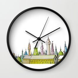 тhe city's rooftops painted with delicate flowers Wall Clock