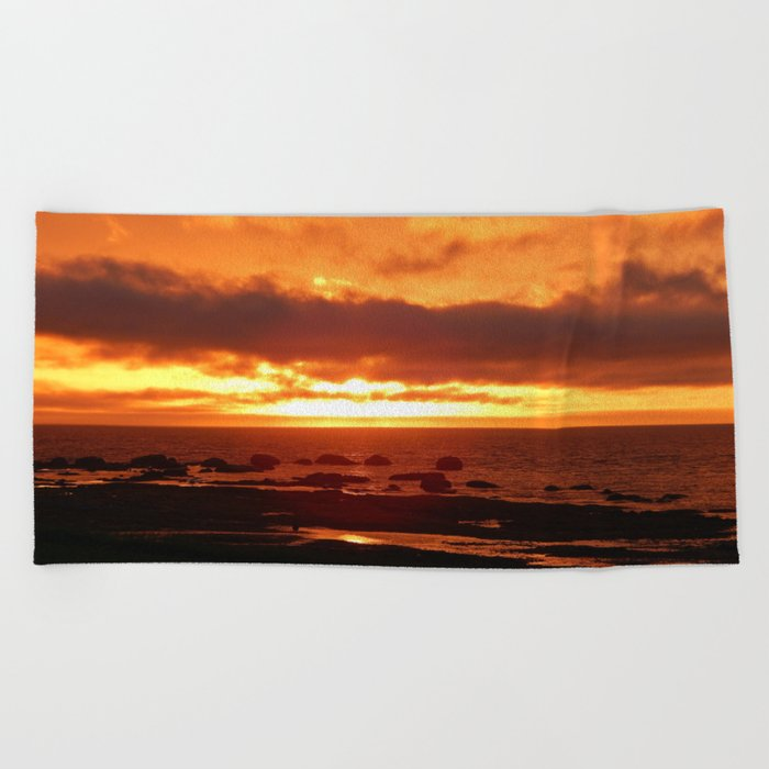 Skies of Fury at Sunset Beach Towel