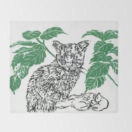 woodblock print Throw Blanket