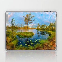 Autumn on the river Laptop & iPad Skin