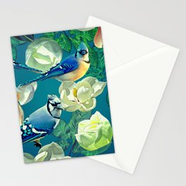 Blue Jays and Magnolias Stationery Cards