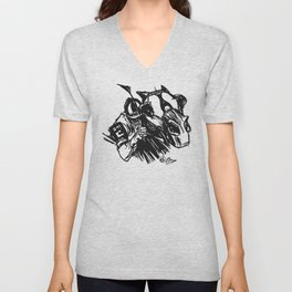 """On The Backstretch"" Horse Racing, Thoroughbred, Saratoga, EQUESTRIAN, Unisex V-Neck"