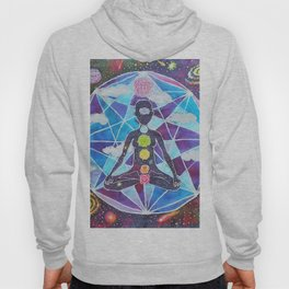Meditation Chakra Space Tapestry Rainbow Galaxy Psychedelic Painting Art (Intergalactic Beings) Hoody
