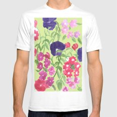 Floral Print White MEDIUM Mens Fitted Tee
