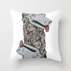 Wolf Head Totem Throw Pillow