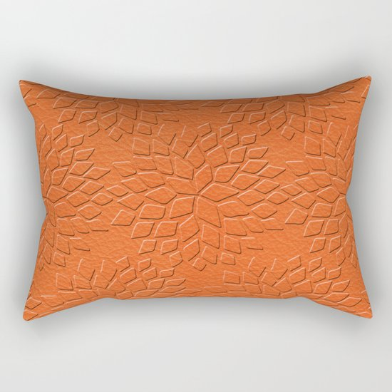 Leather Look Petal Pattern - Flame Color Rectangular Pillow