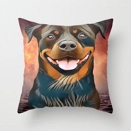 Rottweiler - BEGIN EVERYDAY WITH A SMILE Throw Pillow