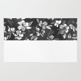 Blossoms on Charcoal Ink Rug