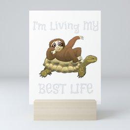 I'm Living My Best Life Sloth & Turtle Mini Art Print
