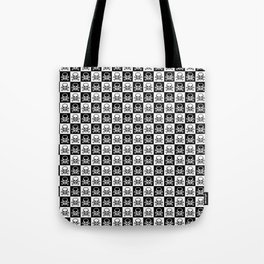 Black and White Skull and Crossbones Check Pattern Tote Bag